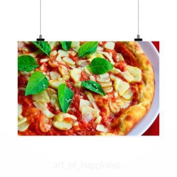 Stunning Poster Wall Art Decor Pizza Basil Garlic Crust Sauce 36x24 Inches