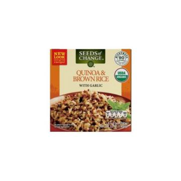 New !  6 X 8.5 oz Seeds of Change Organic Quinoa and Brown Rice with Garlic