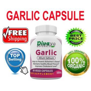 60 Veggie Dietary Supplement Garlic 500 mg Capsules Free WorldWide Shipping