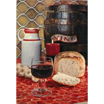 Food topical postcard wine bread garlic New Year greetings