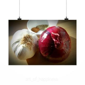 Stunning Poster Wall Art Decor Onion Garlic Spice Herb Healthy 36x24 Inches