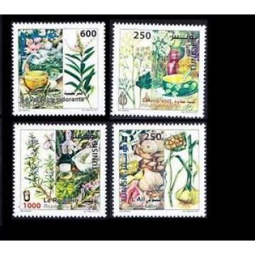 Tunisia MNH 4v, Medicine Plants, Rosemary, Lemon, Green Anise, Garlic for Immune