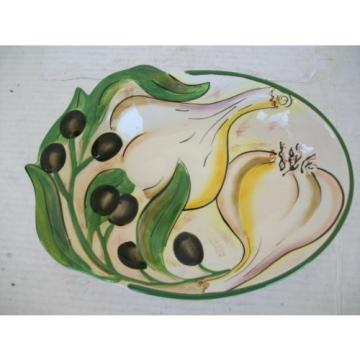 Clay Art Olives & Garlic Green Black Beige Embossed White Oval Bowl