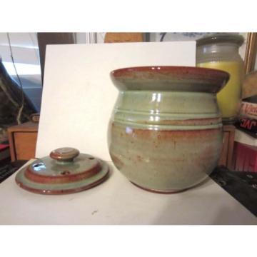 G F General Foister Cole Pottery Garlic Potpourri Mushroom Jar & Lid Folk Art NC