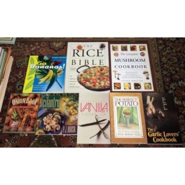Lot 8 Cookbooks Featuring Specific Foods: Mushrooms, Rice,Onions,Potatoes,Garlic