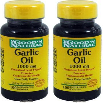 2 x GNN Garlic Oil Extract 1000mg 100 Softgels, Cholesterol Level Support, FRESH