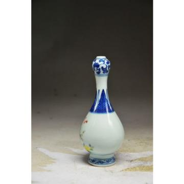 Sublime Chinese blue and white porcelain hand painting people garlic shape vase