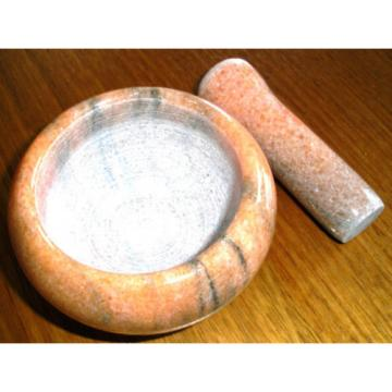 MORTAR AND PESTLE SET EARTH SOLID Marble Small Herbs Spices Garlic Chili
