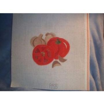 Needlepoint canvas, red tomato & slices, with garlic gloves