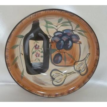 Tuscan Style Vegetable Serving Bowl - Hand Painted with Olives & Garlic - Casino