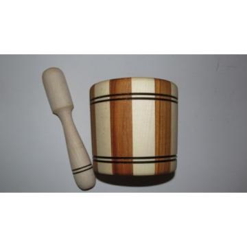 Handmade Wooden Mortar. Garlic, spices mortar made of natural wood.