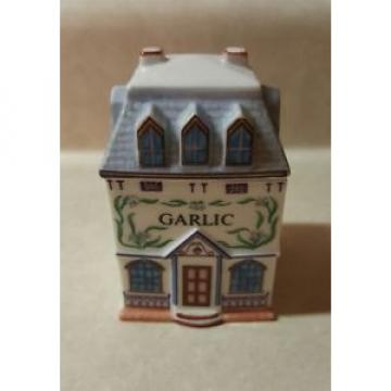 *Vintage 1989 Lenox Spice Village GARLIC Cottage Porcelain Spice Herb Jar W Lid*