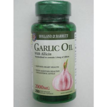 Knoblauch Öl mit Allicin Garlic Oil with Allicin 2000mg 250 Capsules