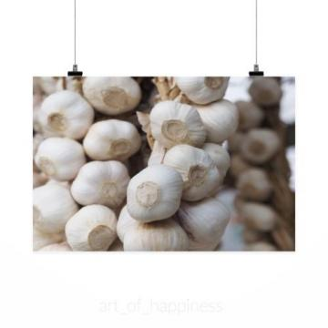 Stunning Poster Wall Art Decor Garlic White Food Cuisine 36x24 Inches