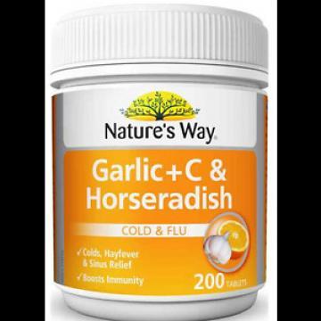 Nature's Way Garlic + C & Horseradish 200 Tablets